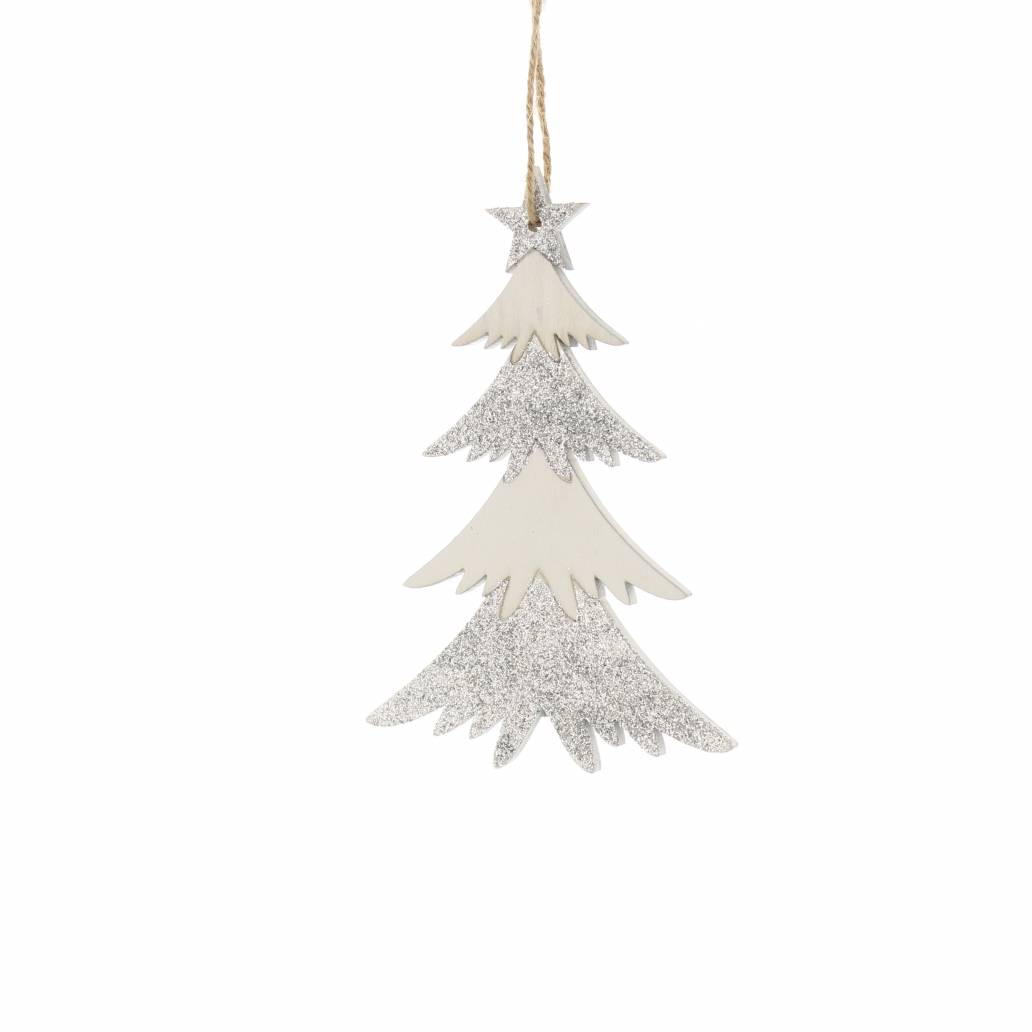 Festive 14.5cm Silver And White Wooden Tree