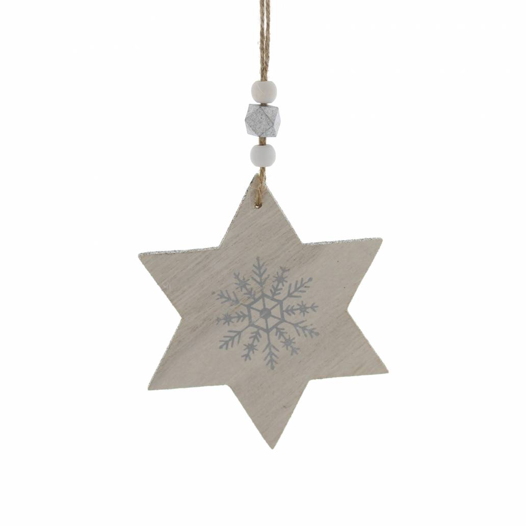 Festive 11.5cm White Wooden Star Hanging Decoration