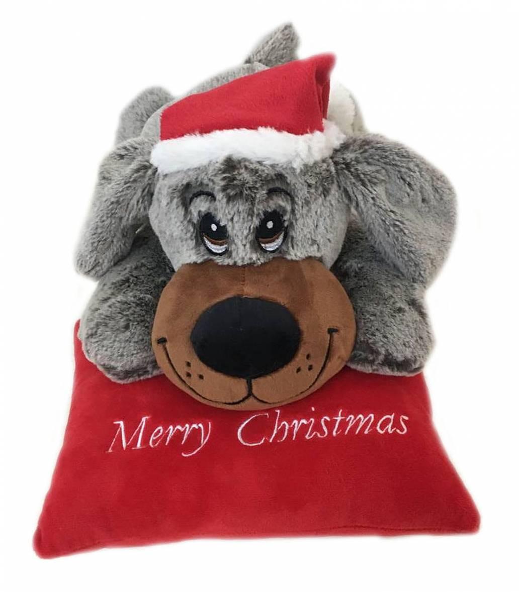 Festive 25cm Grey Laying Dog With Christmas Cushion