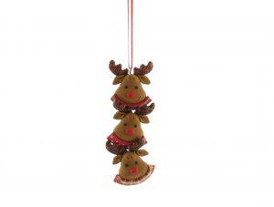 Festive 11cm Claydough Reindeer Heads Hanging Decoration