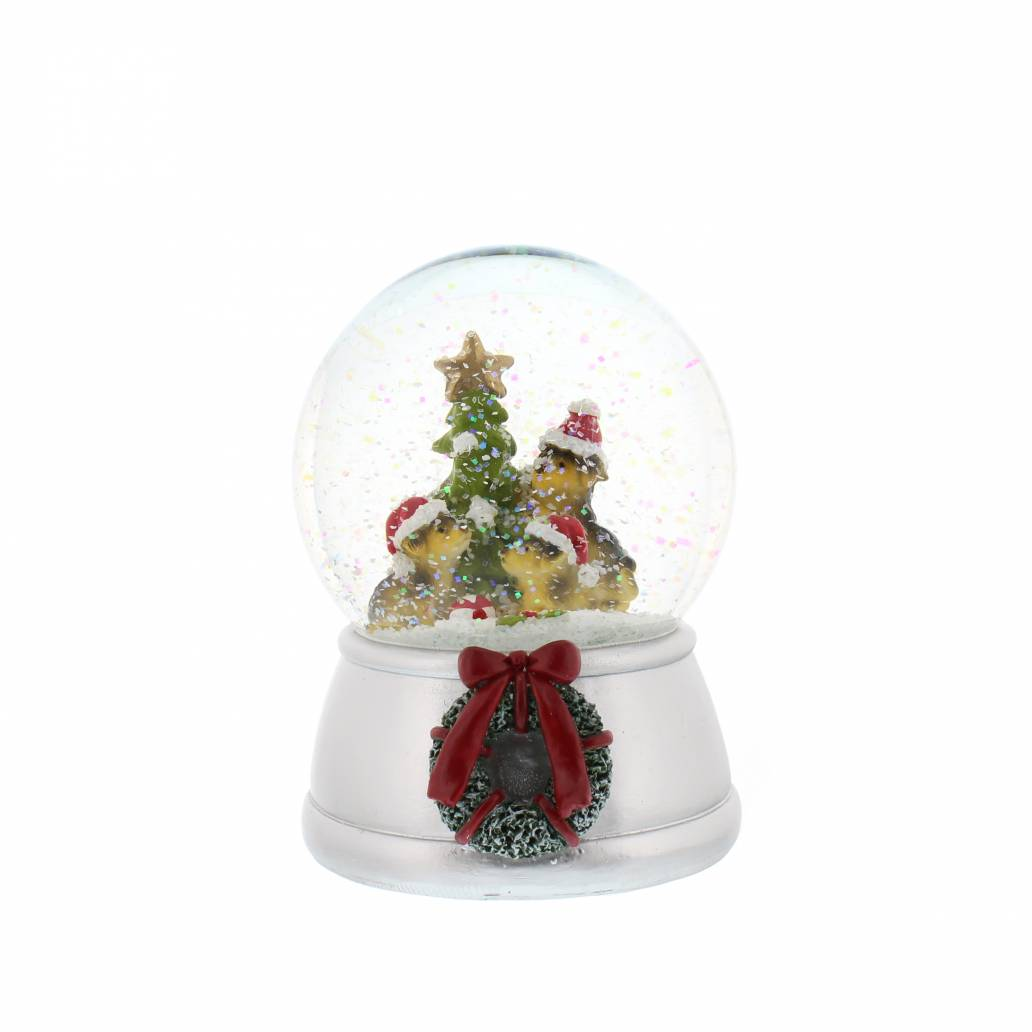 Festive 14cm Dogs In Snowglobe With Music