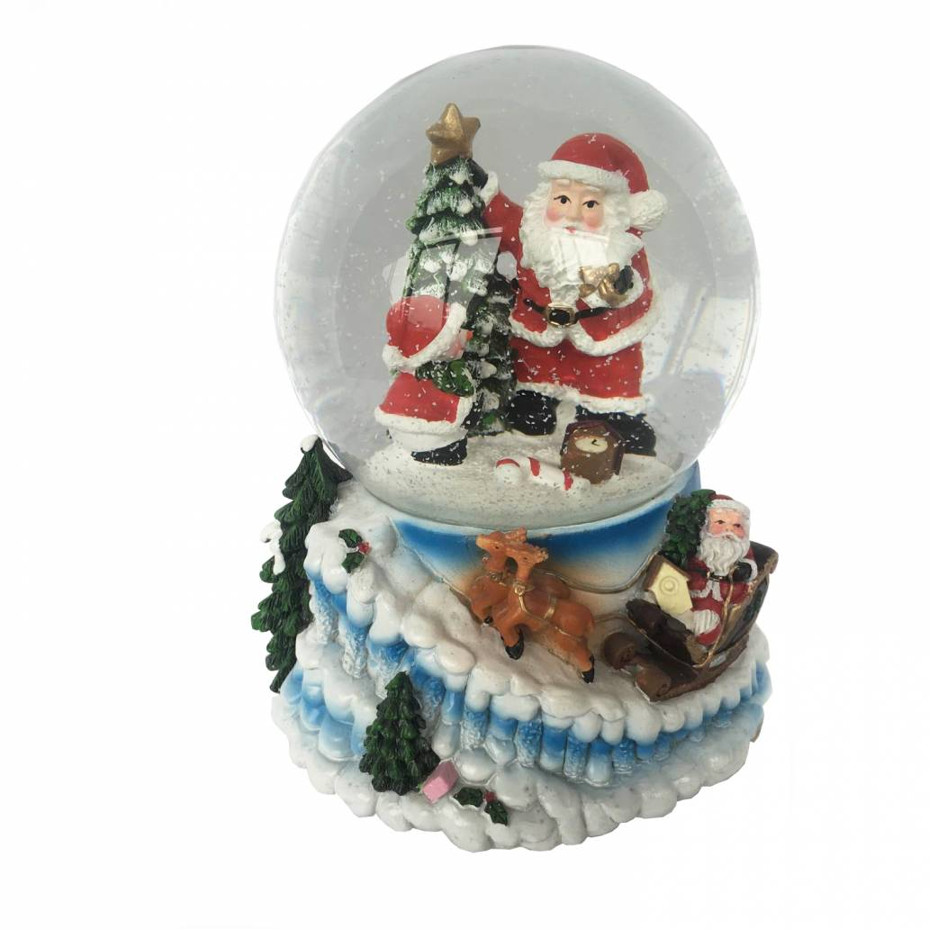 Festive 17cm Santa, Snowman And Tree Musical Snowglobe