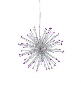Festive 10cm Silver And Purple Starburst Hanging Decoration