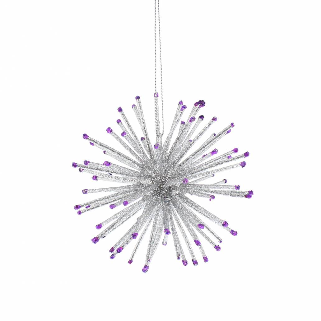 Festive 10cm Silver And Purple Starburst Hanging Decoration