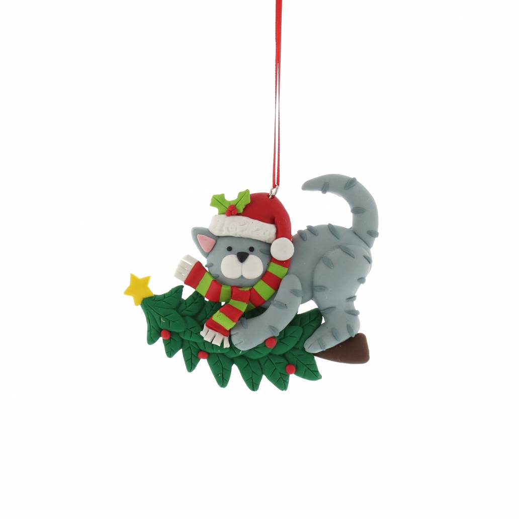 Festive 10cm Claydough Cat And Tree Hanging Decoration