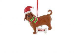 Festive 10cm Claydough Dog Hanging Decoration