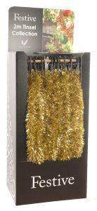 Festive 200cm x 7.5cm Chunky Cut Tinsel - Gold