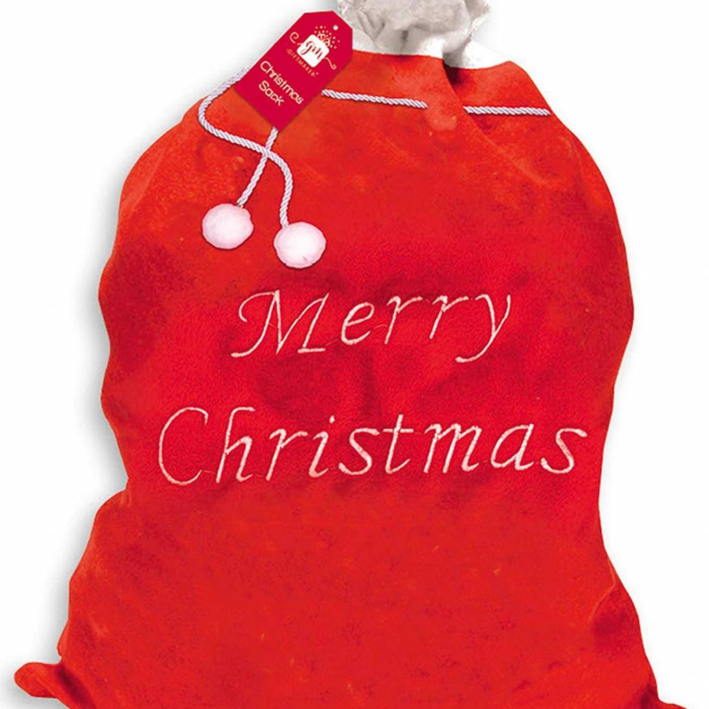 Extra Large Plush Santa Sack Red & White Trim 90cm