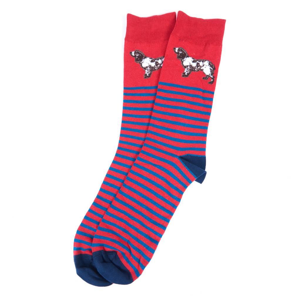 Barbour Ladies Socks - Dog Stripe - Red/Navy Size L