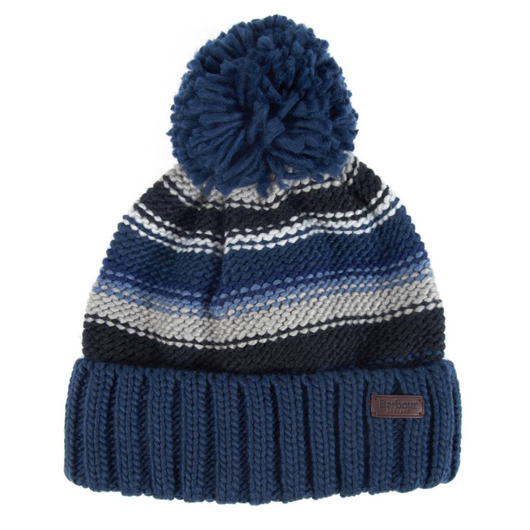 Barbour Harrow Striped Beanie Hat - Grey/Blue - One Size
