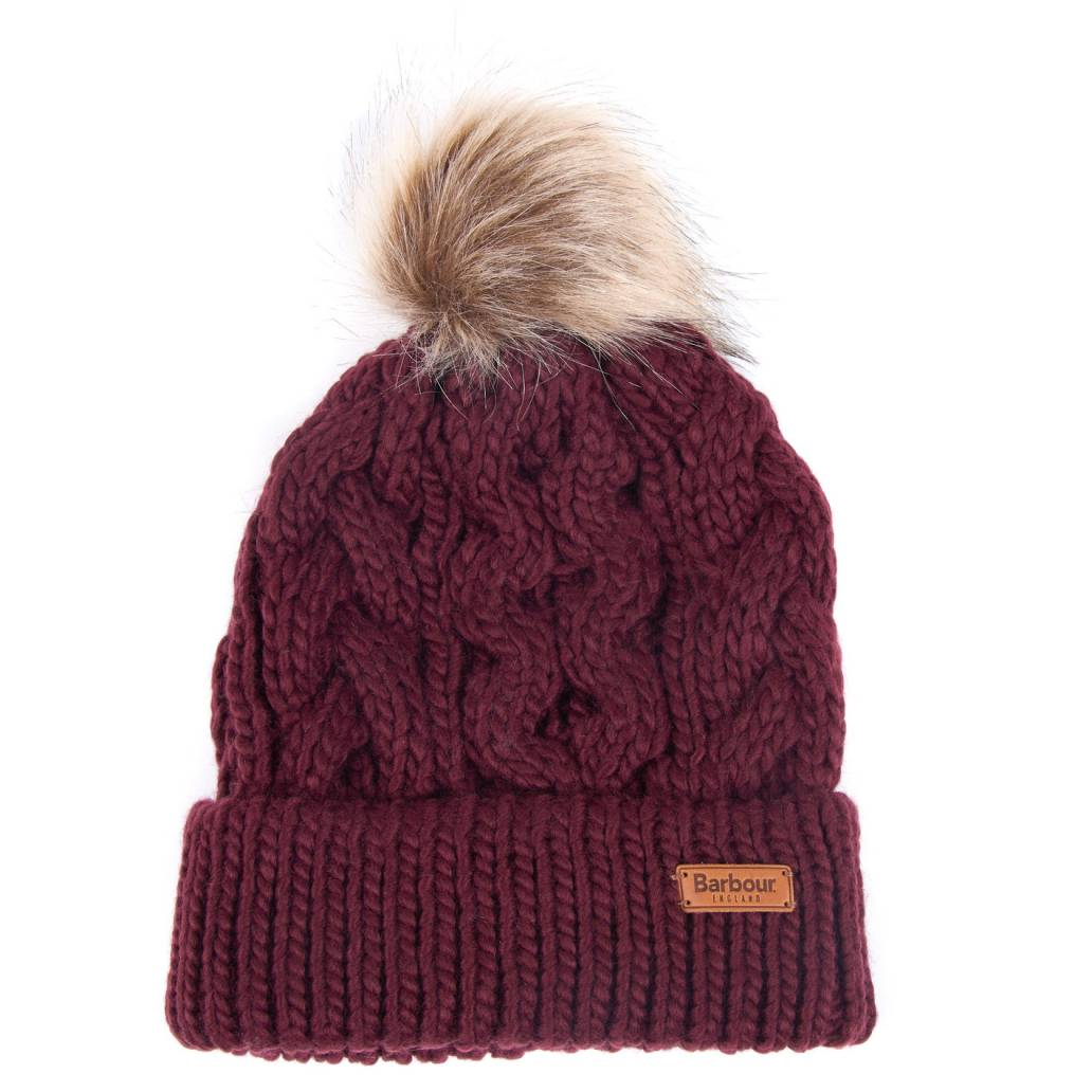 Barbour Ladies Penshaw Beanie Hat - Bordeau