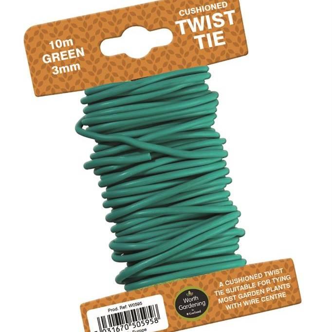 Garland 10m Twist Tie Cushioned 3mm Green