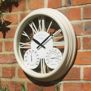 Smart Garden Exeter Wall Clock & Thermometer 15'' - Cream