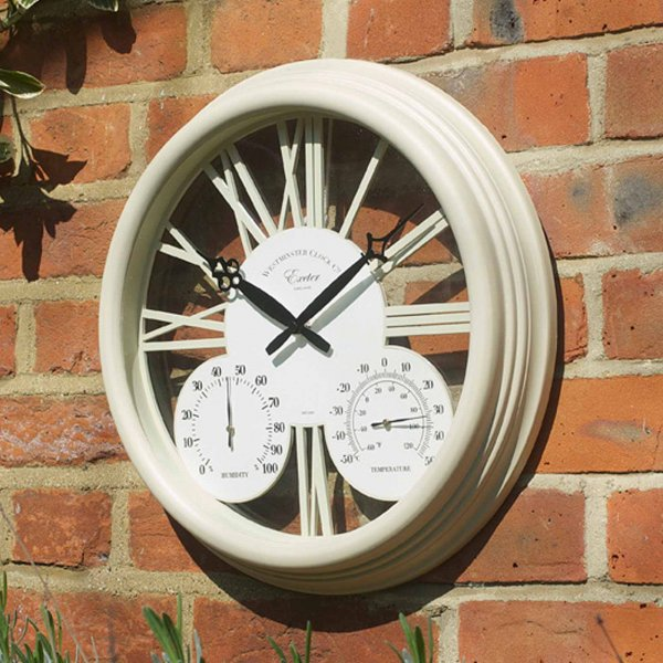Smart Garden Exeter Wall Clock & Thermometer 15'' - Cream