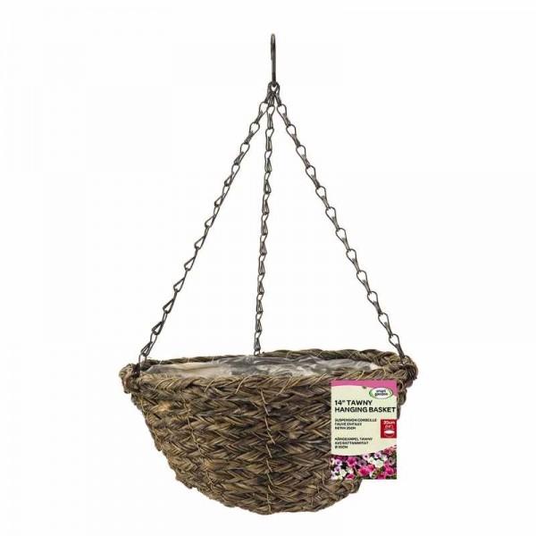 Smart Garden 14'' Faux Rattan Hanging Basket - Tawny