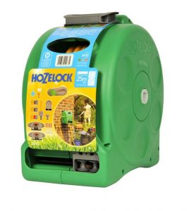 Hozelock 2 in 1 Compact Enclosed Reel & 25m hose & fittings/nozz (2415)