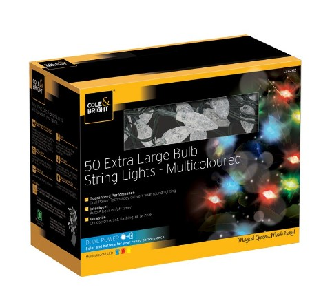 Cole & Bright Solar 50 Extra Large Bulb String Lights - Multicoloured