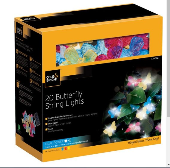 Cole & Bright Solar 20 Butterfly String Lights