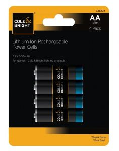 Cole & Bright AA Lithium Ion Rechargeable Power Cells - 4 Pack