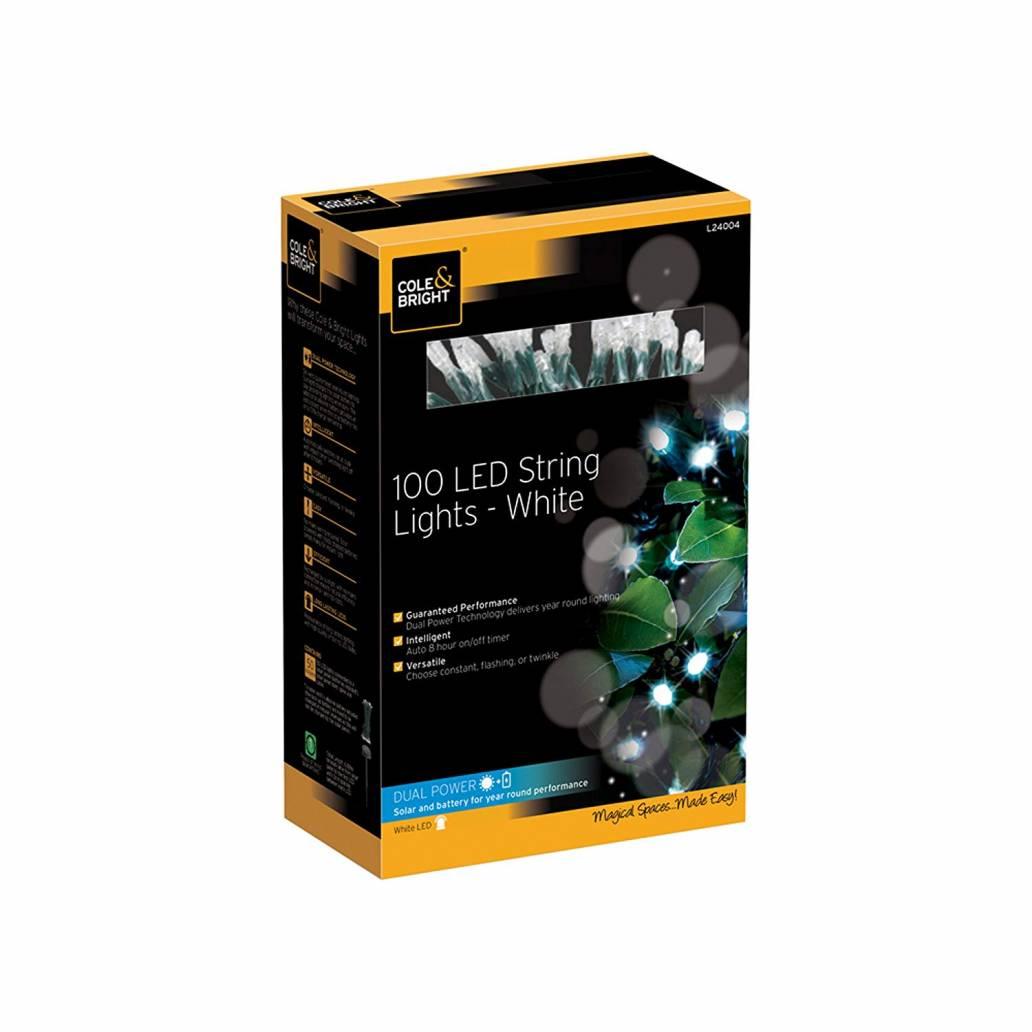 Cole & Bright Solar 100 LED String Lights - White