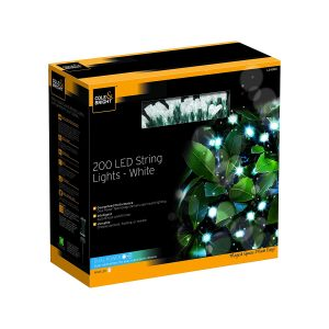 Cole & Bright Solar 200 LED String Lights - White