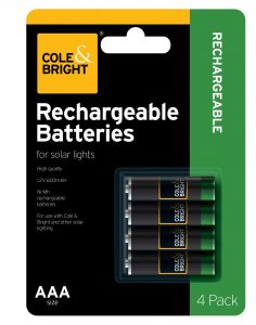 Cole & Bright AAA Rechargeable Battery - 4 pack