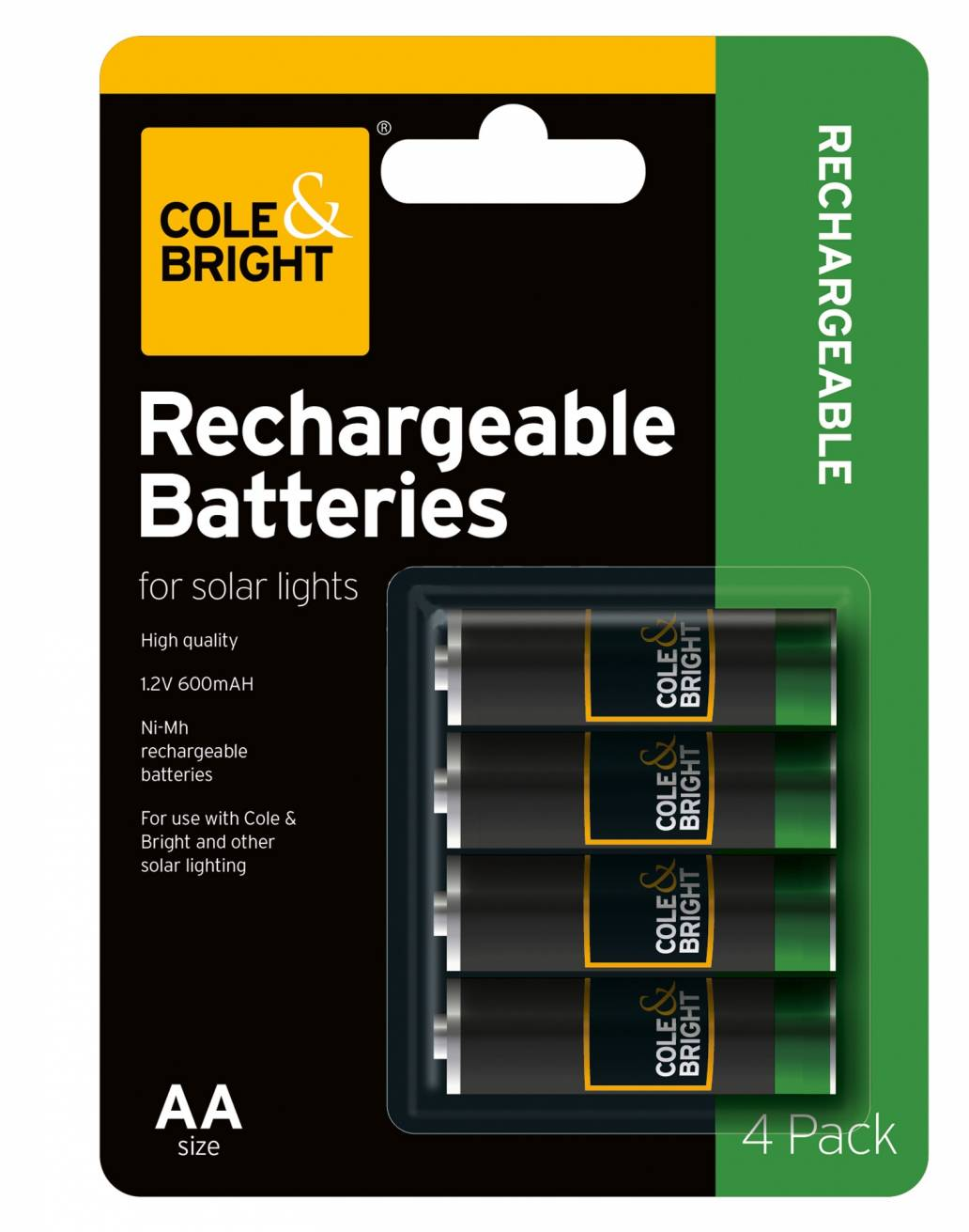 Cole & Bright AA Rechargeable Battery - 4 pack