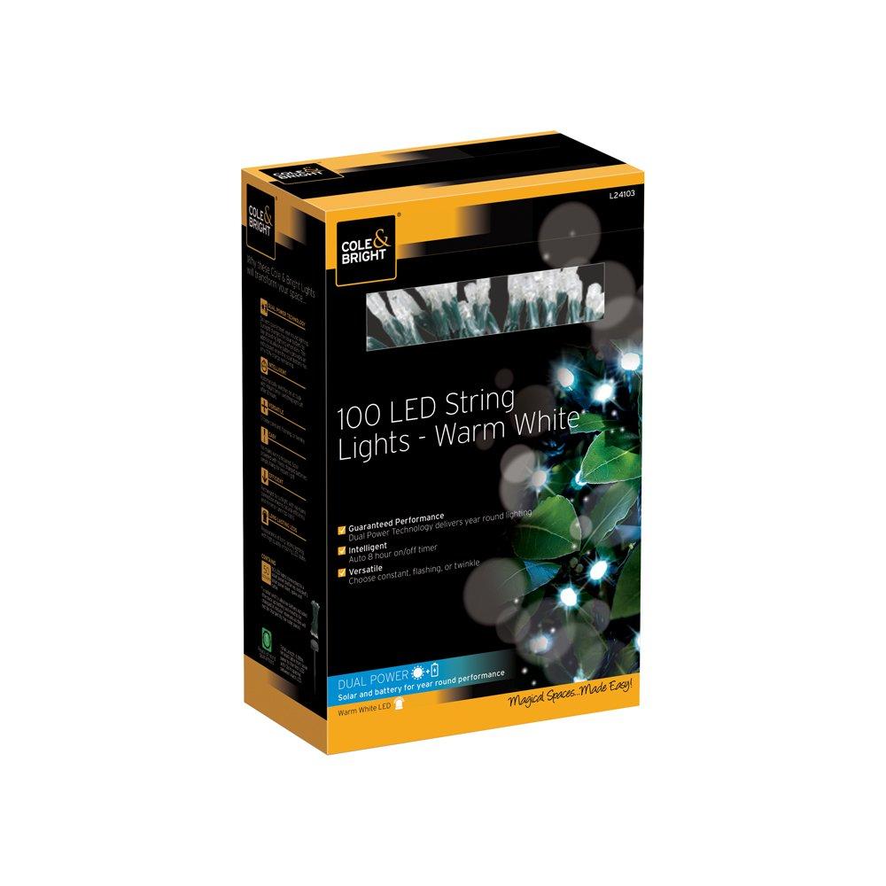 Cole & Bright Solar 100 LED String Lights - Warm White