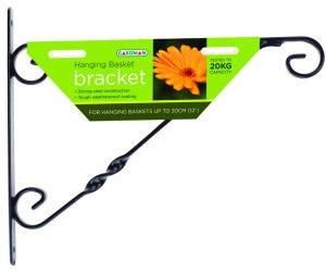 """Gardman 35cm (14"""") Standard Hanging Basket Bracket - Black"""