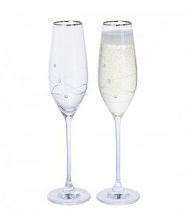 Dartington Crystal Glitz Silver Flute Glasses - Pair
