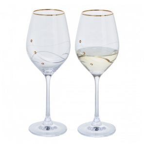Dartington Crystal Glitz Gold Wine Glasses - Pair