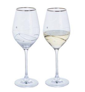 Dartington Crystal Glitz Silver Wine Glasses - Pair
