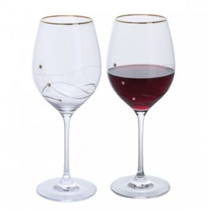 Dartington Crystal Glitz Gold Goblet Glasses - Pair