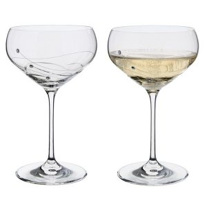 Dartington Crystal Glitz Champagne Saucer Glasses - Pair