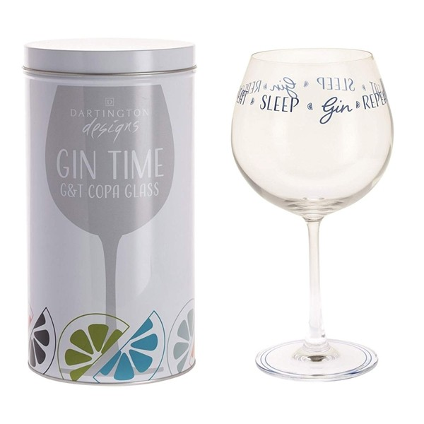 Dartington Crystal Glass Gin Time 'Eat Sleep Gin Repeat'