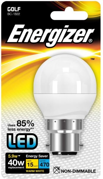 Energizer B22 Warm White Golf Lightbulb 40w