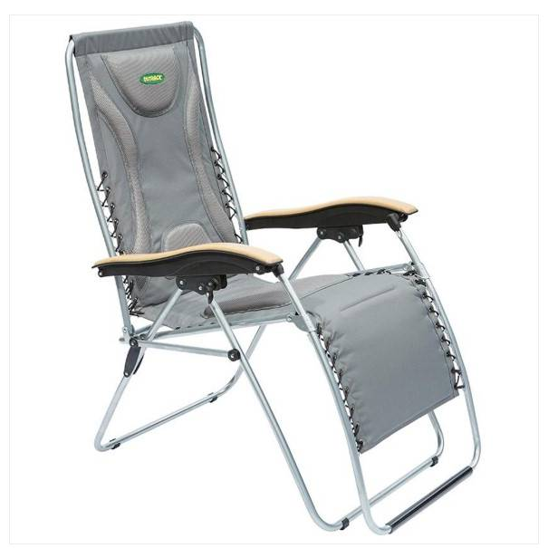 Outback Padded Relaxer With Timber Armrest - Grey