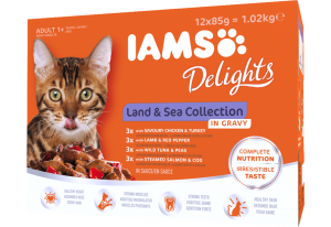 Iams Delights Cat Food Pouches - Land And Sea Collection (In Gravy) 12x85g