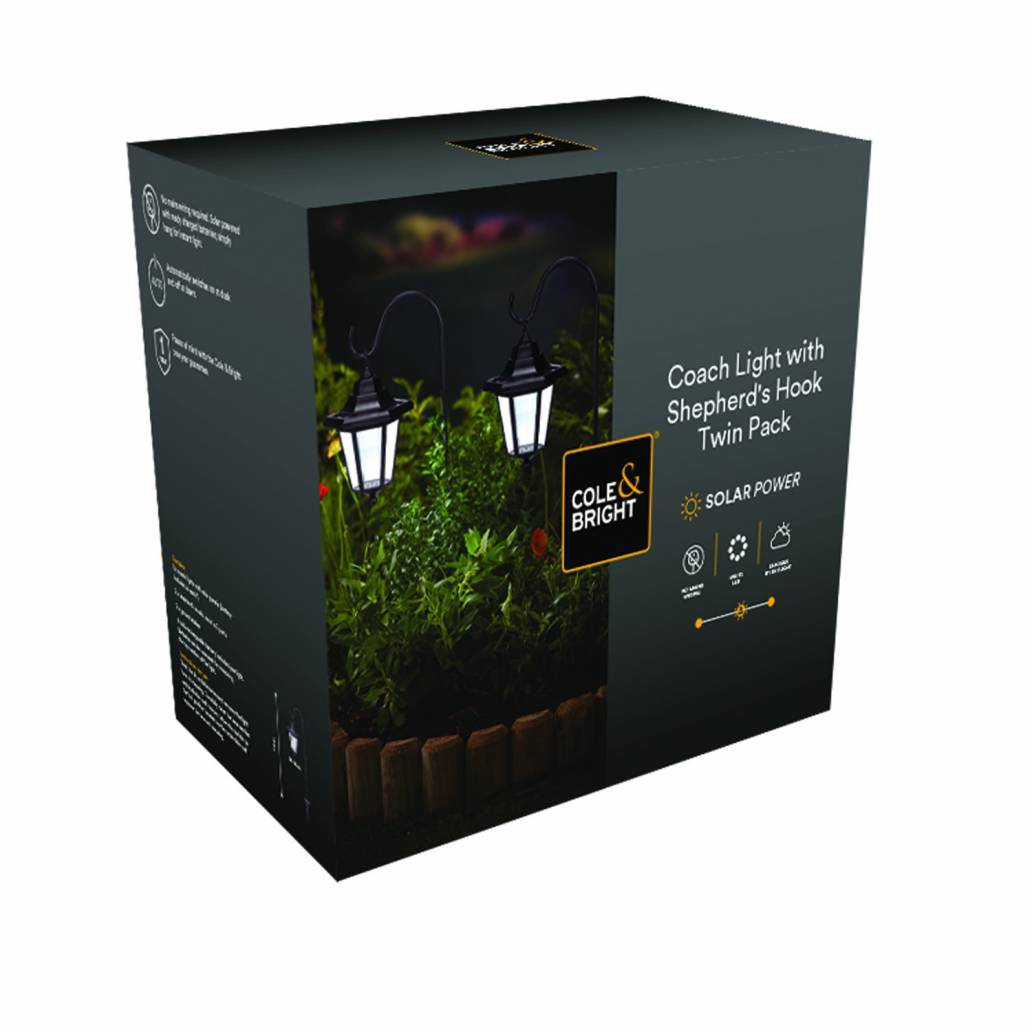 Cole & Bright Solar Coach Light with Shepherd's Hook - Twin Pack