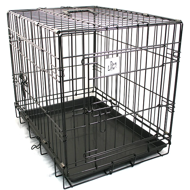 Dog Life Pet Crate - Black Metal - Extra Large L107 x W69 x H78cm