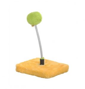 Yellow Fluffy Ball Spring Cat Toy - 22cm