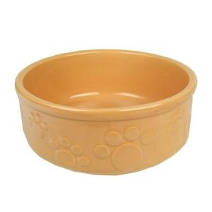 Rosewood Beige Stoneware Embossed Paw Bowl - 7""
