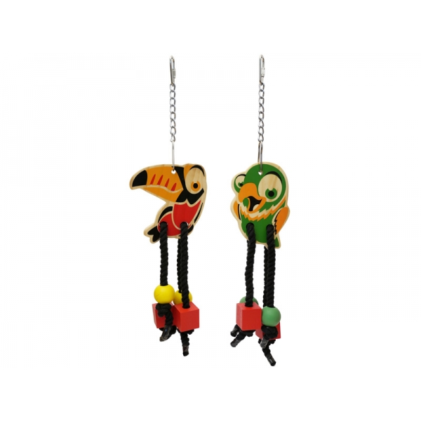 Rosewood Metal, Rope & Wooden Parrot Toys Woodies Birdy Danglers