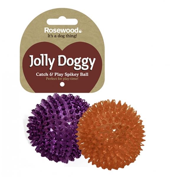 Jolly Doggy Catch & Play Spikey Ball Dog Toy