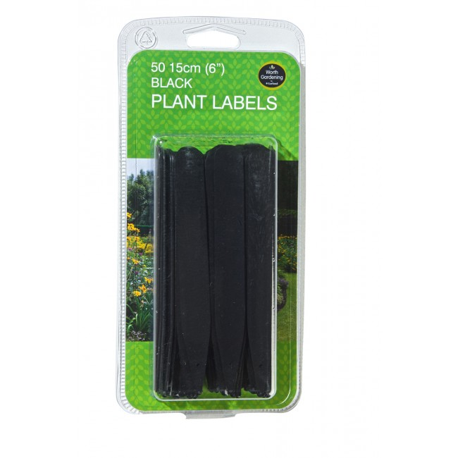"Garland 15cm (6"") Black Plant Labels (50)"