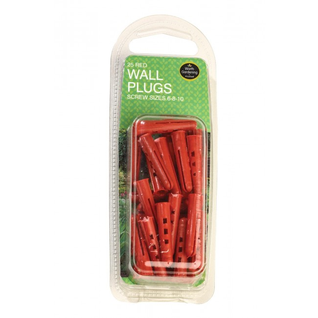 Garland Red Wall Plugs Screw Sizes 6-8-10 (25)