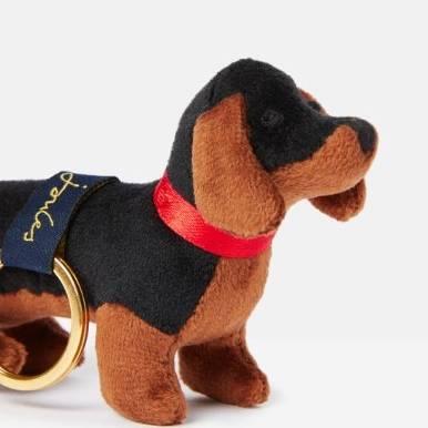 Joules Charmwell Velvet Keyring - Black Dog