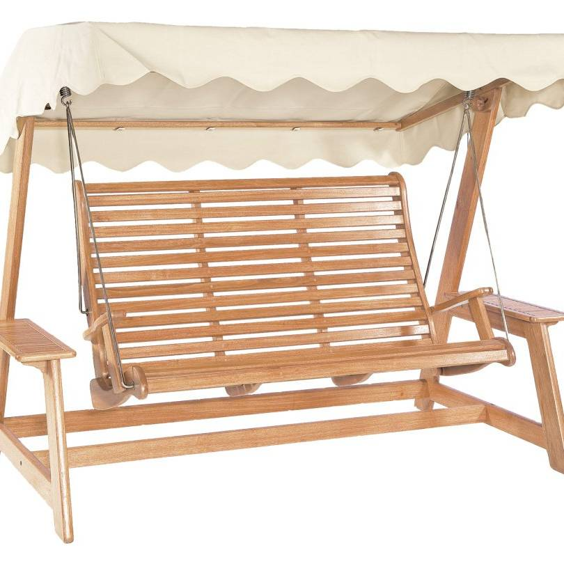 A/Rose Mahogany Swing Seat (Green/ Ecru)