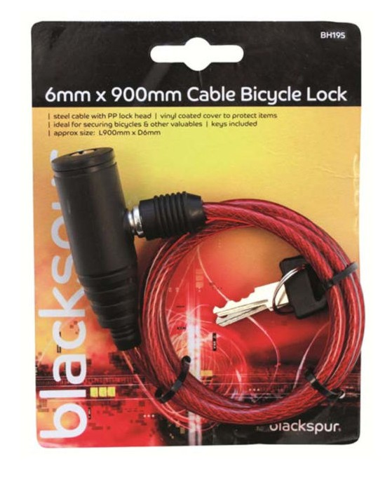 Blackspur 6mm x 900mm Cable Bicycle Lock (BH195)