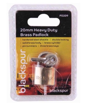 Blackspur 20mm Heavy Duty Padlock With Hardened Shackle (PD209)